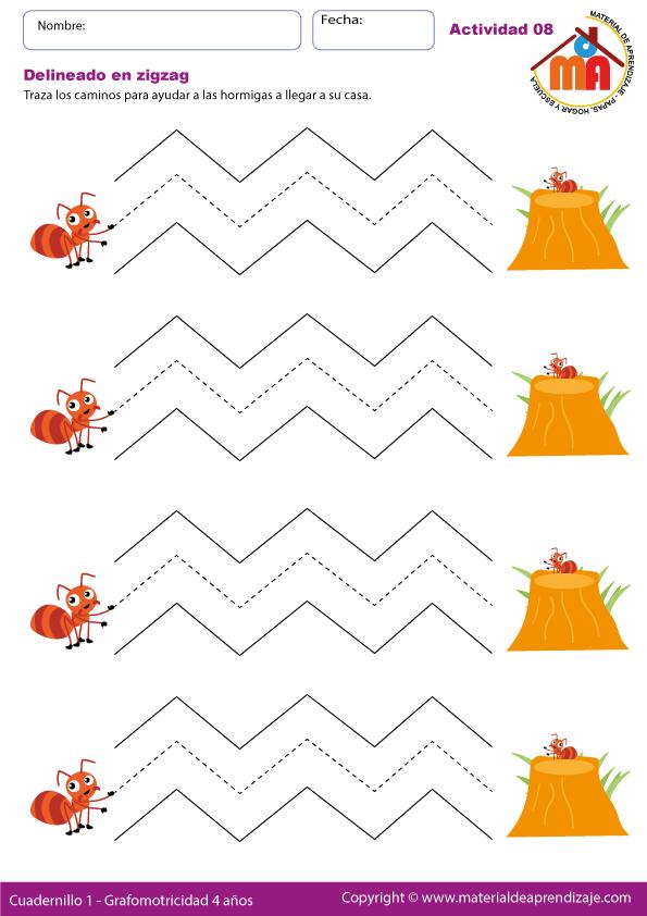Delineado en zigzag