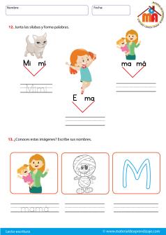 La Letra M Lecto Escritura Material De Aprendizaje