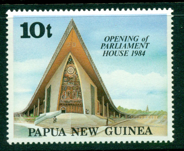 10-toea stamp for the opening of Parliament House in 1984. (Credit: Stampmall http://stampmall.com.au/index.php?main_page=product_info&products_id=4417)
