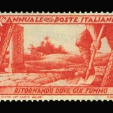 Mussolini attempted to justify his fascist political ambitions by associating himself and the Italian state with a glorious Roman past. This stamp of the excavation of a Roman road at a vicinity in North Africa promotes Italy's return to Rome's once occupied lands while silencing African pasts.