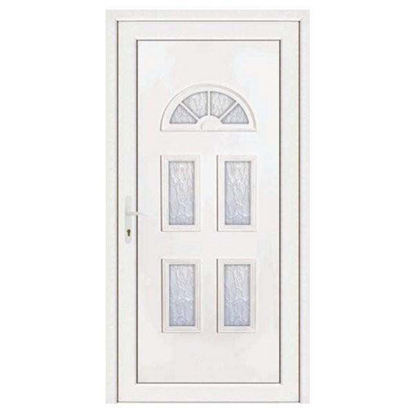 porte d entree pvc ines blanche 5 carreaux poussant droit 200 x 90 cm