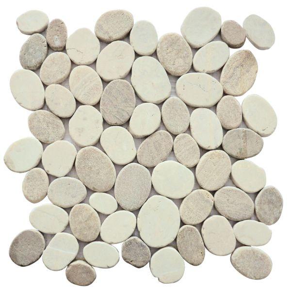 galets mix beige marbre mixte 4114 plaque 30 x 30 x 1 cm
