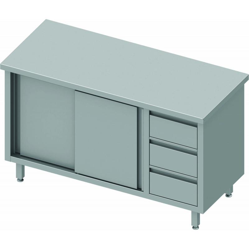 meuble bas cuisine inox 2 portes a gauche 3 tiroirs gamme 700 stalgast