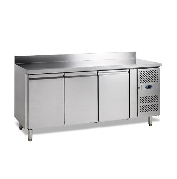 SK6310 TABLE RÉFRIGÉRÉE POSITIVE -2 +10°C, 3 PORTES, PROFONDEUR 600, 179 CM, 360 L, DOSSERET
