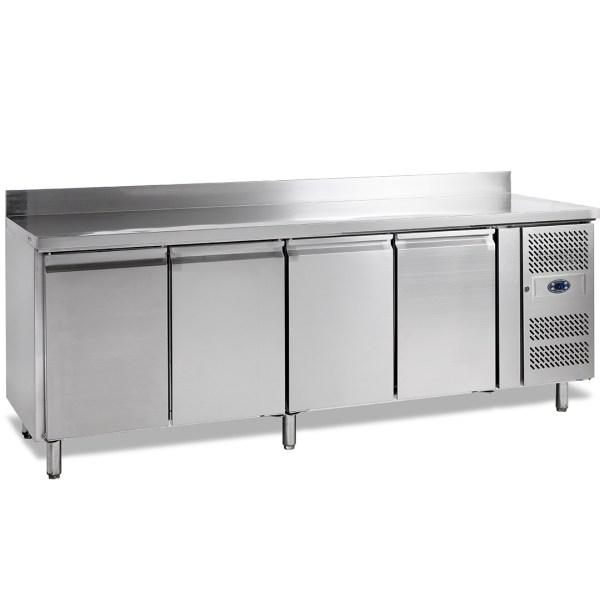 SK6410 - TABLE REFRIGEREE POSITIVE SNACK AVEC DOSSERET, -2+10°C, 4-PORTES, PROFONDEUR 600, 223CM, 480L