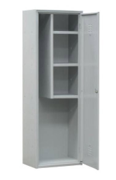 armoire balais avec 3 etageres couleur gris