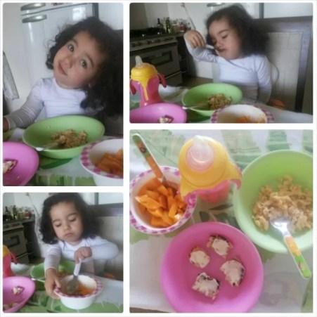 Café da manhã: suco de laranja e abacaxi, manga, ovo mexido, pão quente com requeijão e leite materno