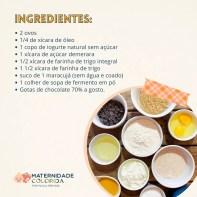 ingredientes bolo de iogurte, maracuja e gotas de chocolate