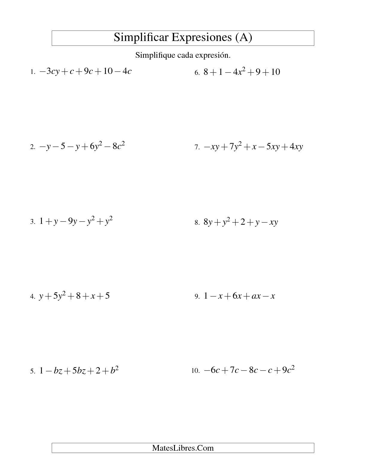 Simplificar Expresiones Algebraicas Suma Y Resta Dos Variables Cinco Terminos A Hoja De