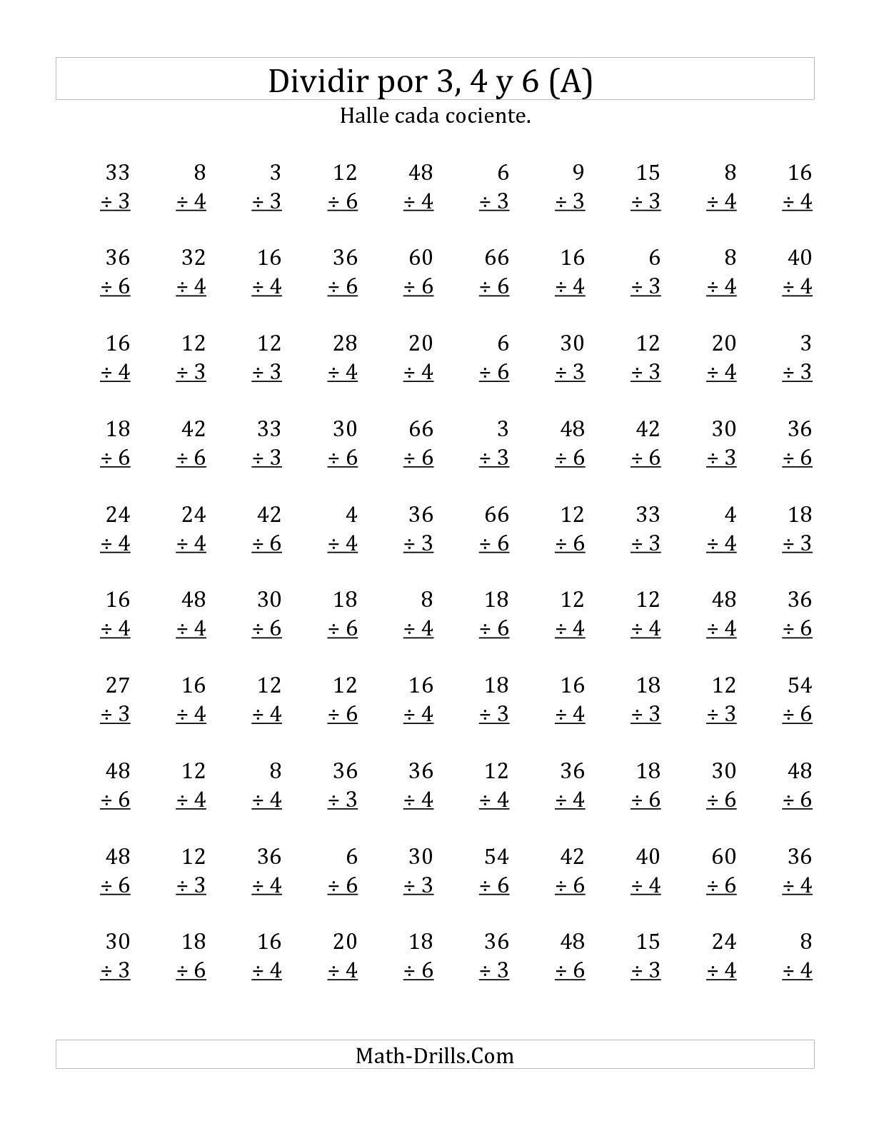 Divisiones Basicas Por 3 4 Y 6 A Hoja De Ejercicio De