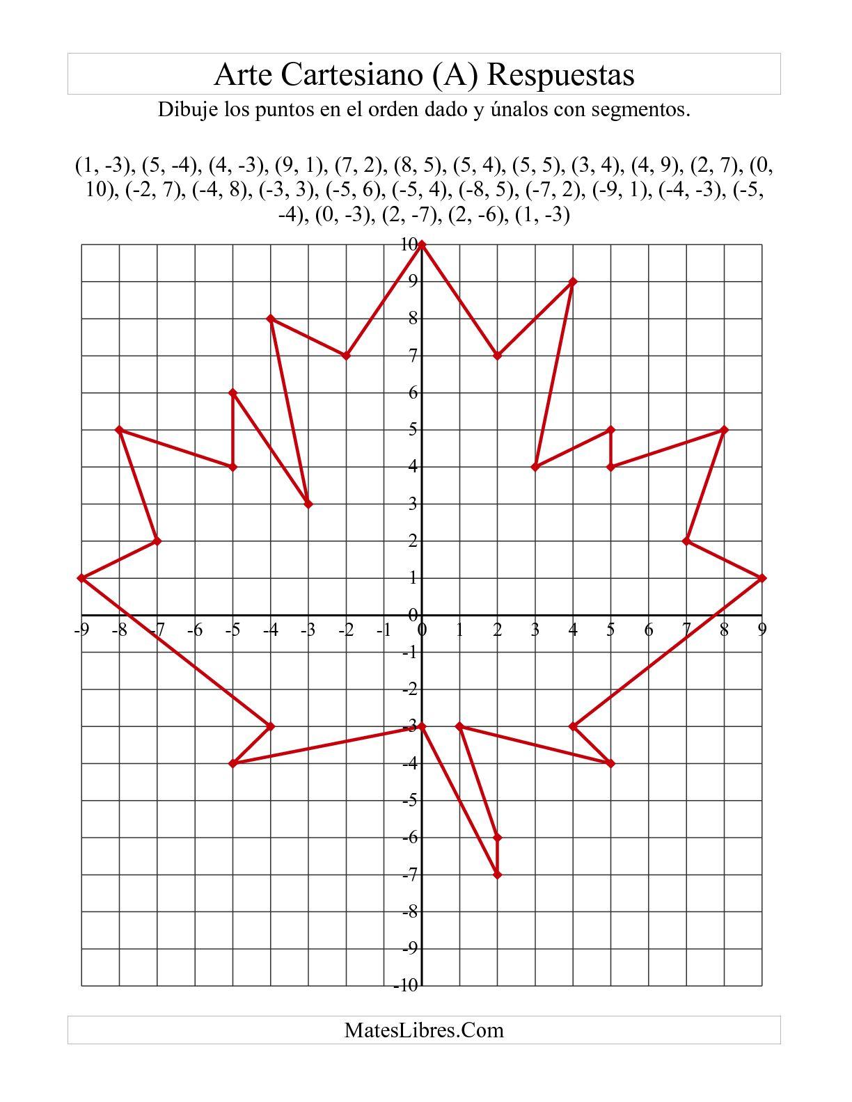 Arte De Puntos De Coordenadas Hoja De Arce Roja A Hoja De Ejercicio De Geometria