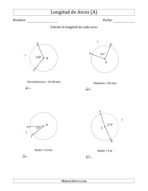 Radio Diámetro Circunferencia Y Círculo Recurso