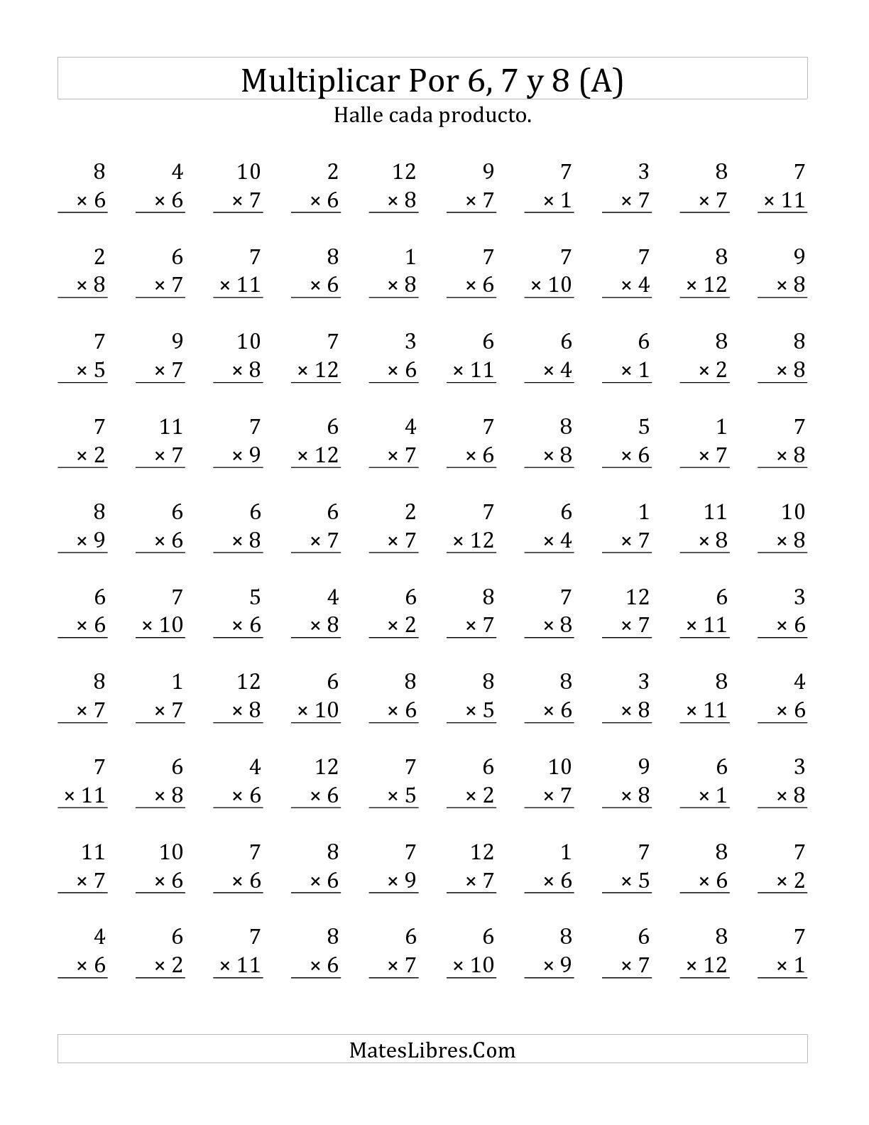 Multiplicar De 1 A 12 Por 6 7 Y 8 A Hoja De Ejercicio