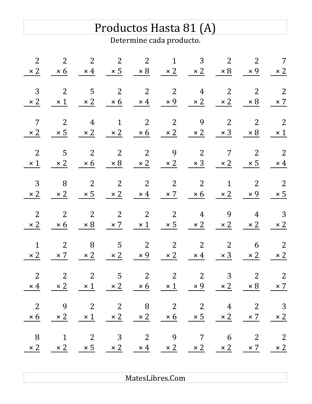 Multiplicar De 1 A 9 Por 2 A Hoja De Ejercicio De