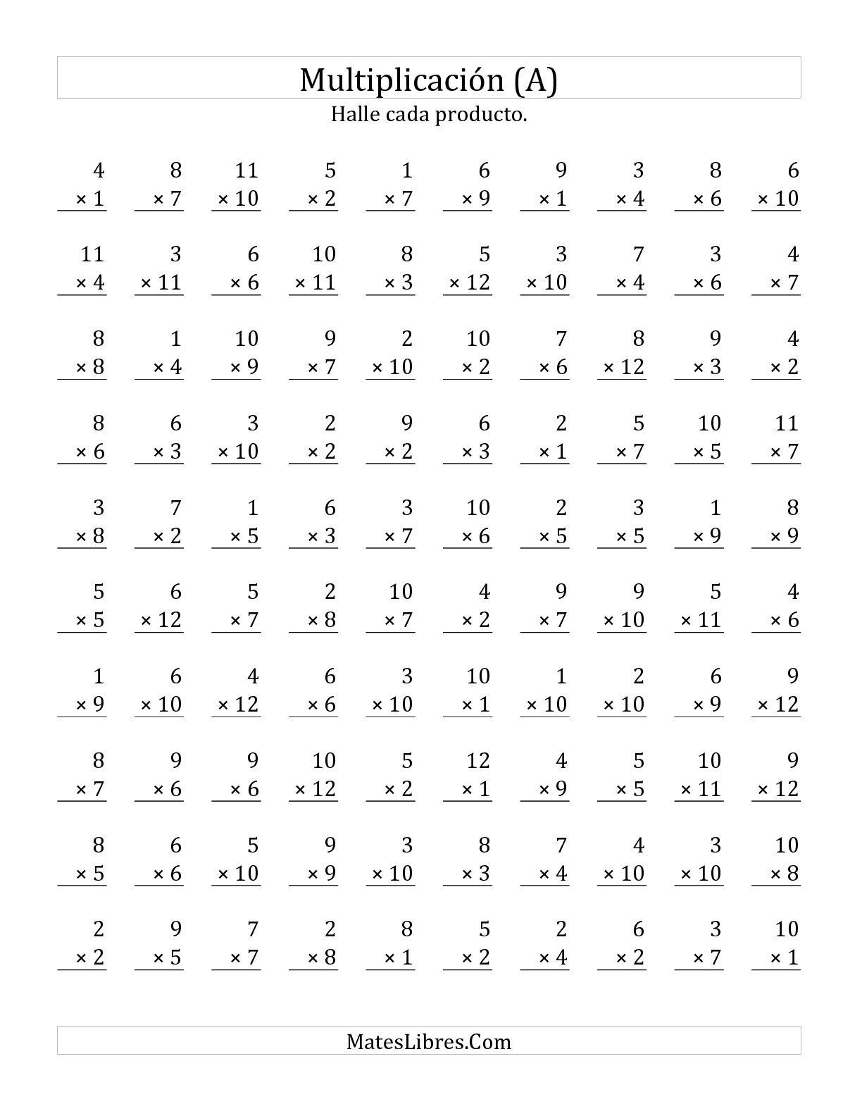 Multiplicar De 1 A 12 Por Numeros De 1 A 11 A Hoja De