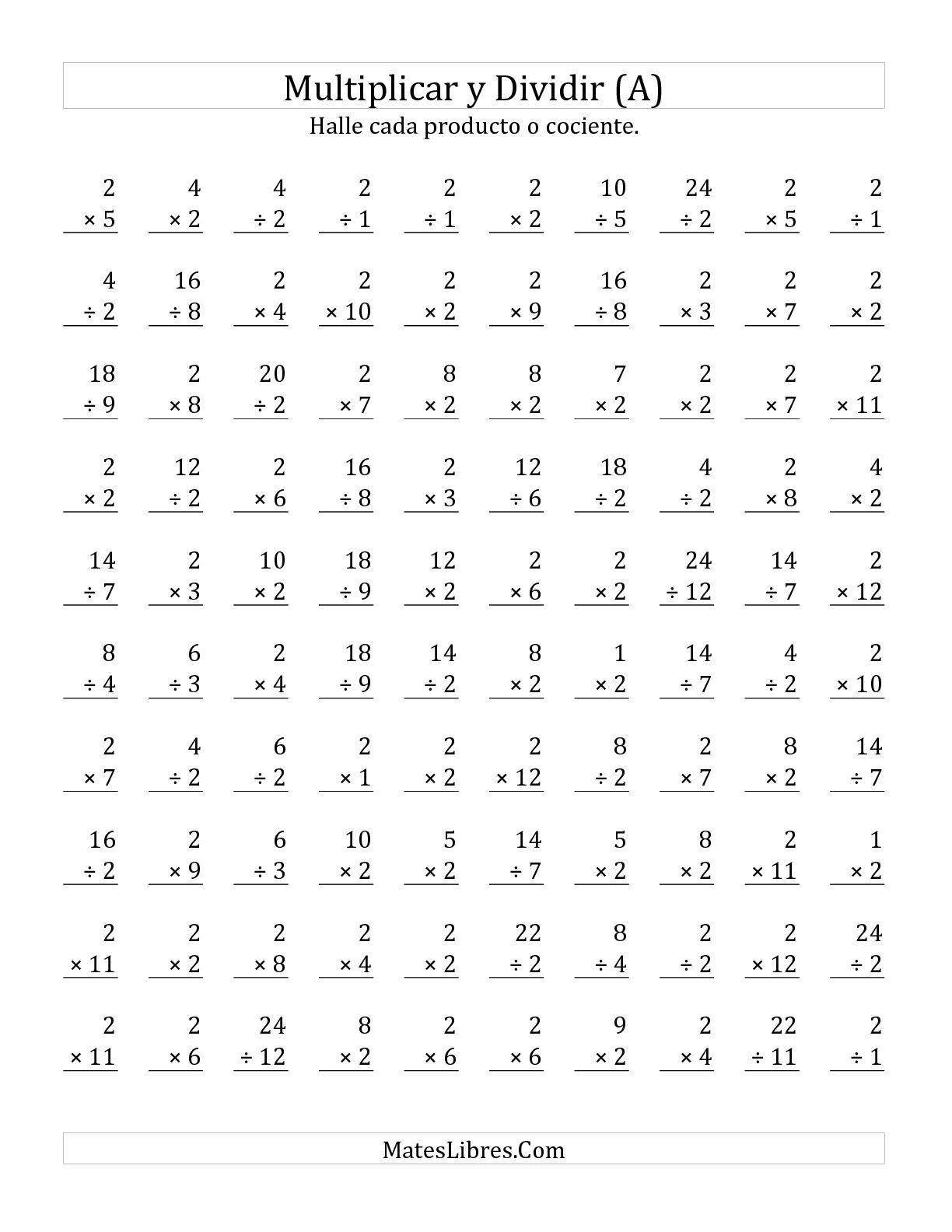 Multiplicar Y Dividir Por 2 A Hoja De Ejercicio De Operaciones Mixtas