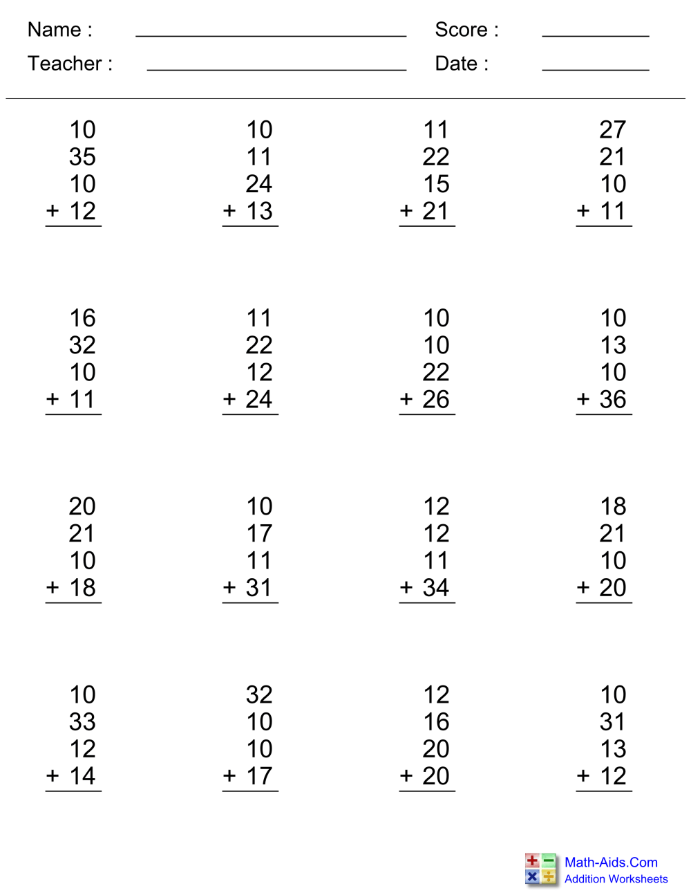 medium resolution of Addition Worksheets   Dynamically Created Addition Worksheets