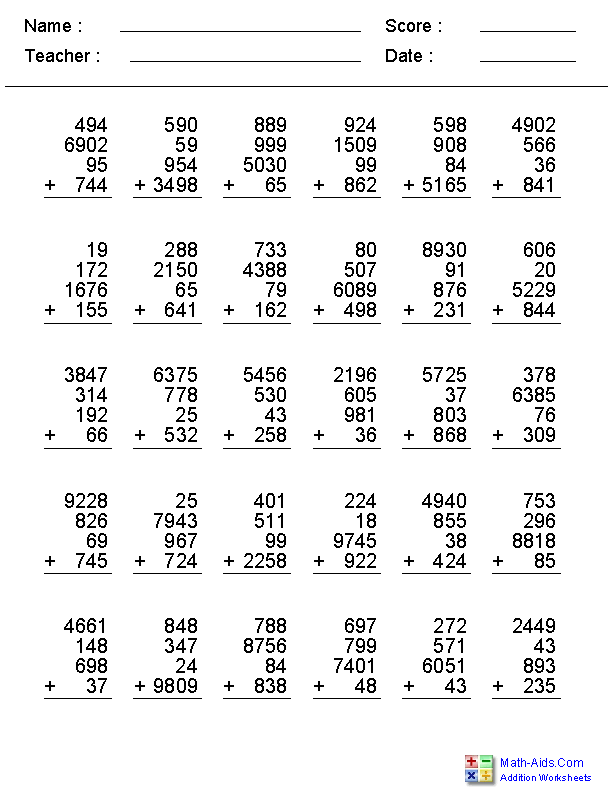 addition worksheets dynamically created