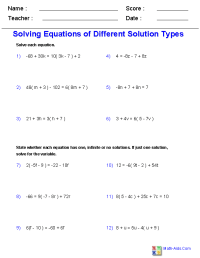 Algebra 1 Worksheets