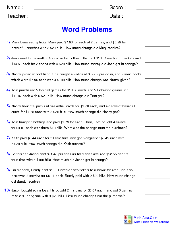 word problems worksheets dynamically