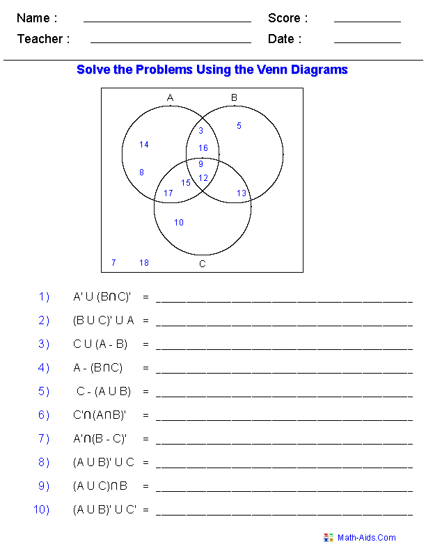 maths sets and venn diagrams lan connection wiring diagram worksheets dynamically created set notation problems using three