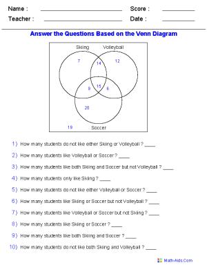 Venn Diagram Worksheets | Dynamically Created Venn Diagram