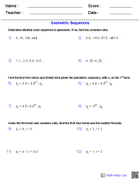 Algebra 2 Worksheets   Sequences and Series Worksheets