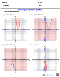 Algebra 1 Worksheets | Quadratic Functions Worksheets