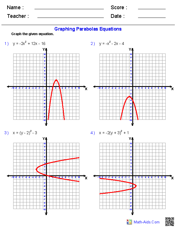 Graphing Hyperbolas Worksheet