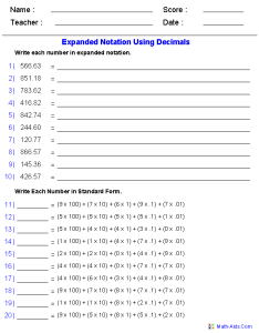 Place value worksheets also for practice rh math aids