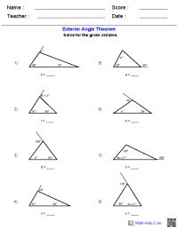 triangle interior angles worksheet