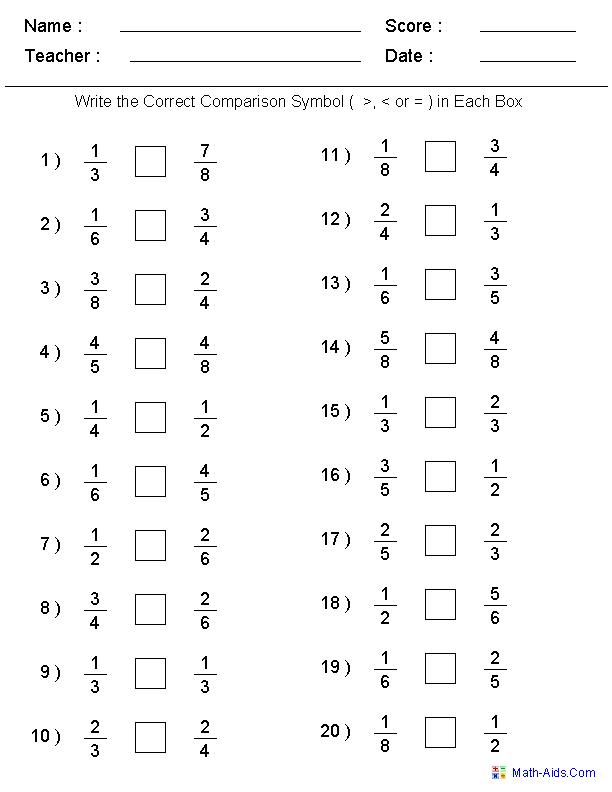 Comparing Unit Fractions Worksheet 3rd Grade - Free Worksheet