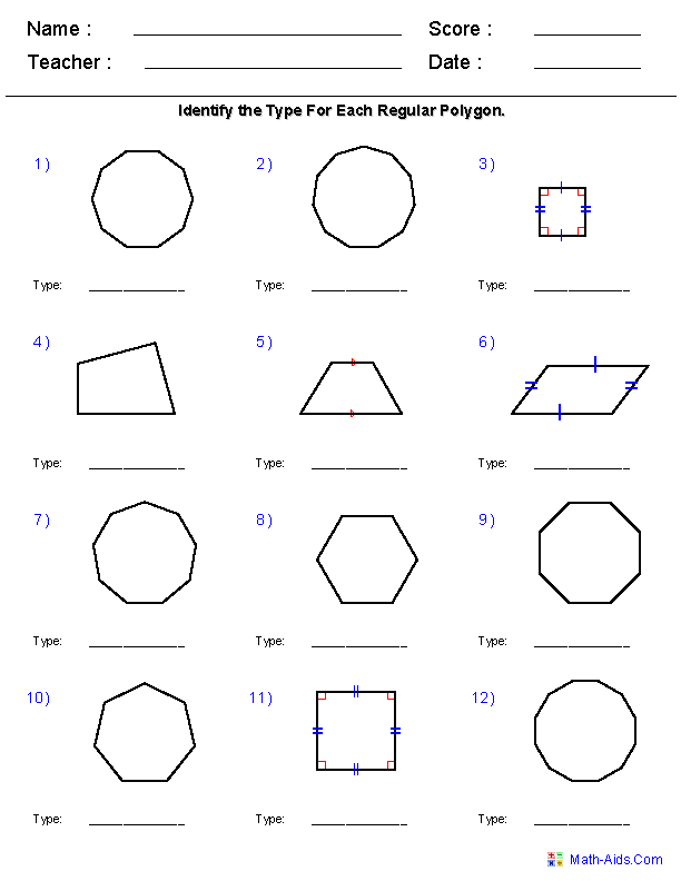 Geometry Shapes Worksheets 4th Grade