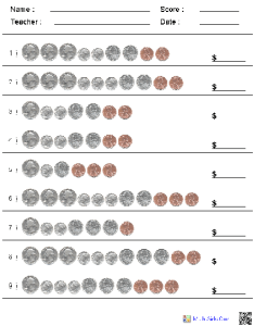 Counting coins kindergarten worksheets also dynamically created rh math aids
