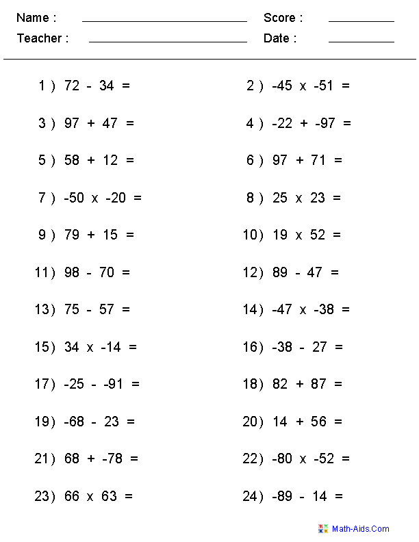 Mixed Problems Worksheets