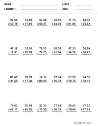 Decimals Worksheets | Dynamically Created Decimal Worksheets