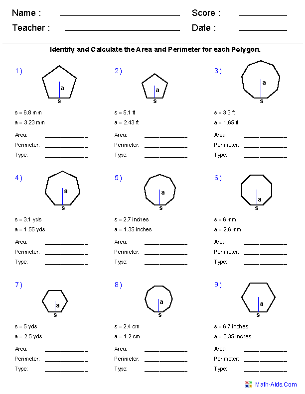 5th Grade Math Worksheets Area And Perimeter