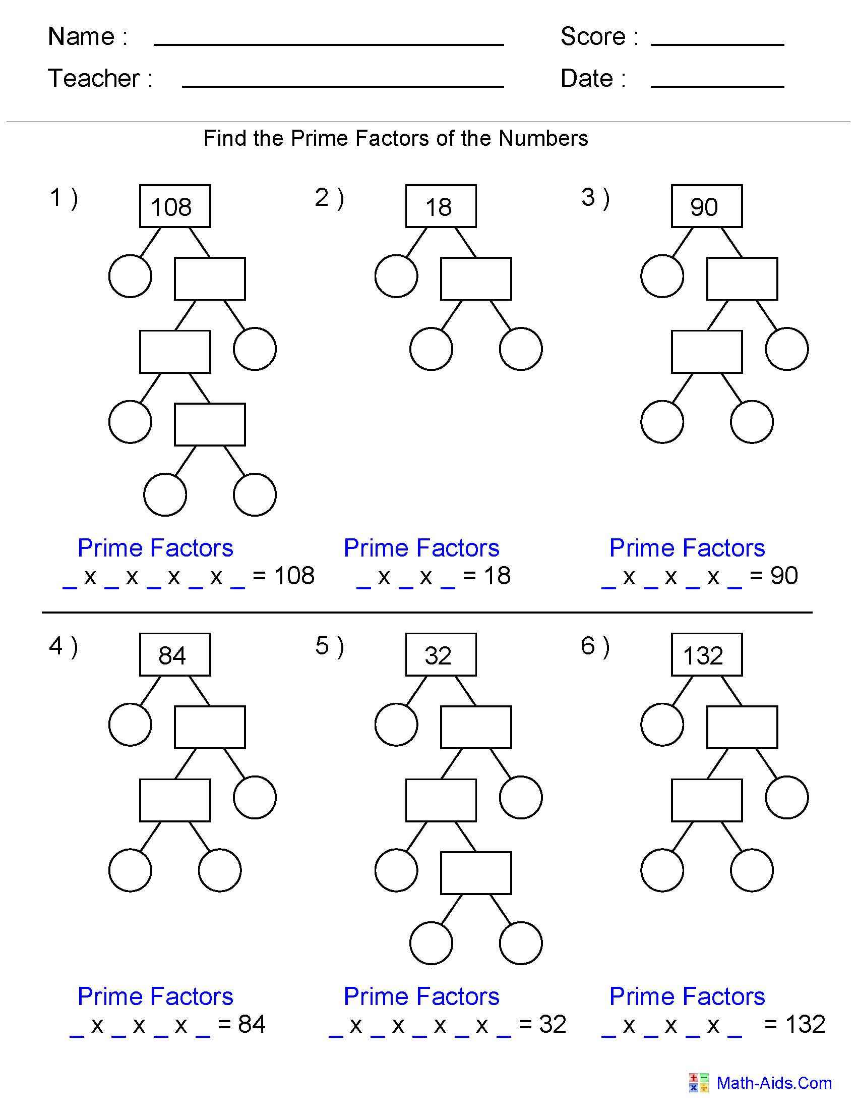 Factor Worksheet For Grade 5 Math