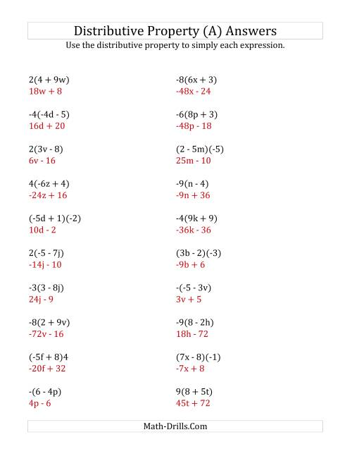 small resolution of Using the Distributive Property (Answers Do Not Include Exponents) (A)