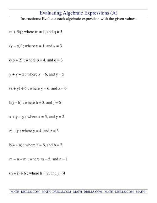medium resolution of Evaluating Algebraic Expressions (A)