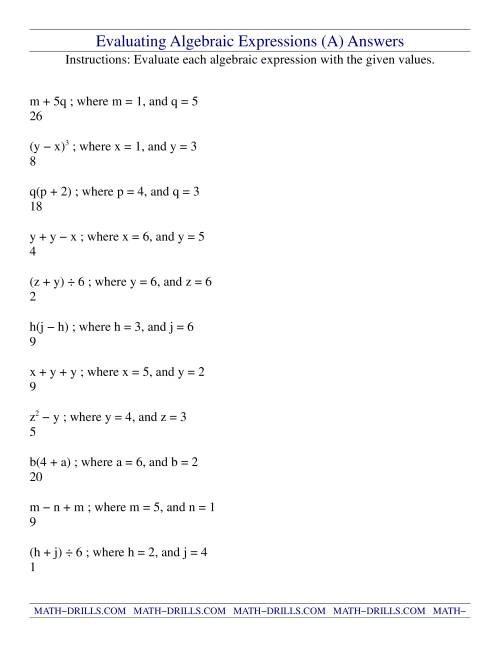 hight resolution of Evaluating Algebraic Expressions (A)