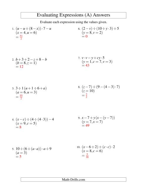 medium resolution of Evaluate Each Expression Worksheet - Promotiontablecovers