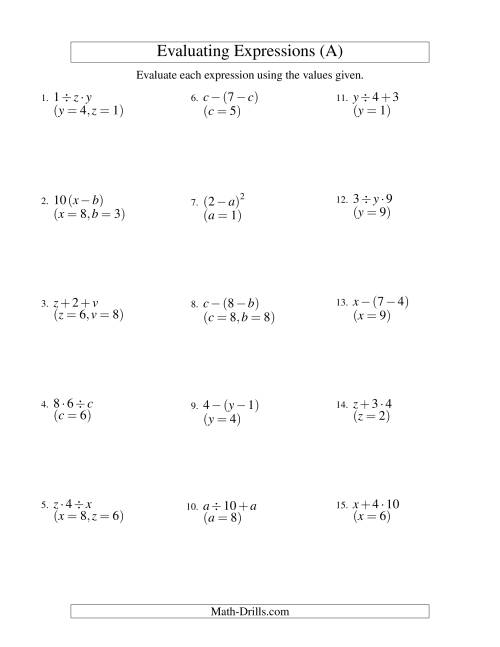 34 Variables And Expressions Worksheet Answers - Free Worksheet Spreadsheet [ 1165 x 900 Pixel ]