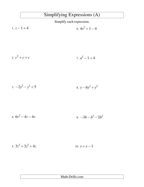 hight resolution of 31 Simplifying Expressions Worksheet With Answers - Worksheet Resource Plans
