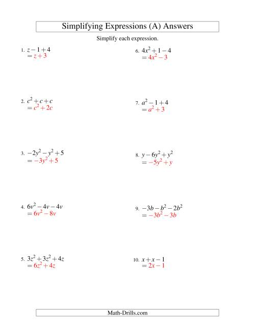 small resolution of Simplifying Algebraic Expressions with One Variable and Three Terms  (Addition and Subtraction) (A)