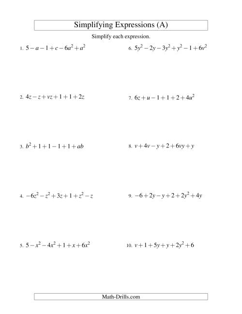 small resolution of Simplifying Algebraic Expressions with Two Variables and Six Terms  (Addition and Subtraction) (A)