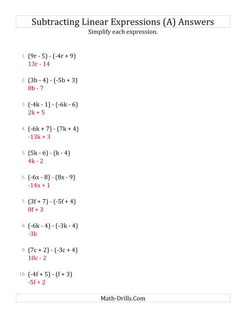 hight resolution of Subtracting and Simplifying Linear Expressions (A)