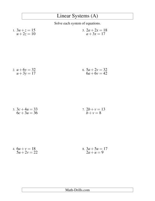 small resolution of Systems of Linear Equations -- Two Variables (A)