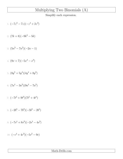 Multiplying Two Binomials (A)
