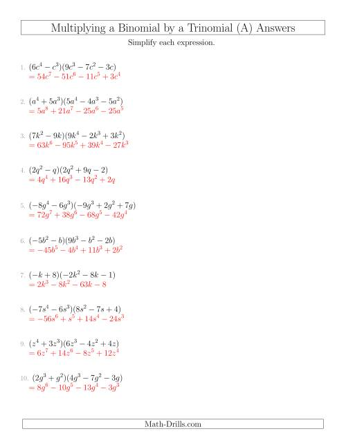 Newest Binomial Products Worksheet